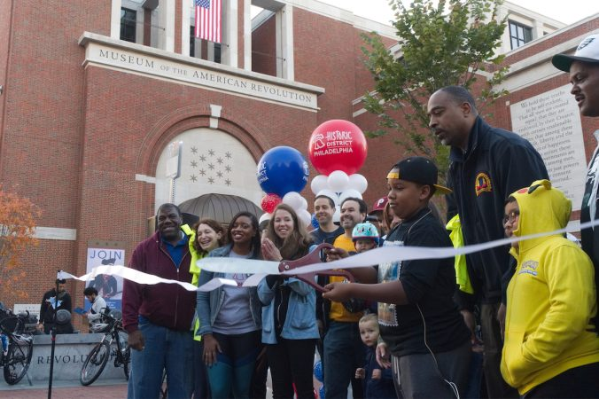 The ribbon is cut for the second annual Philly Free Streets event,Saturday, Oct. 28, 2017. (Bastiaan Slabbers for WHYY)
