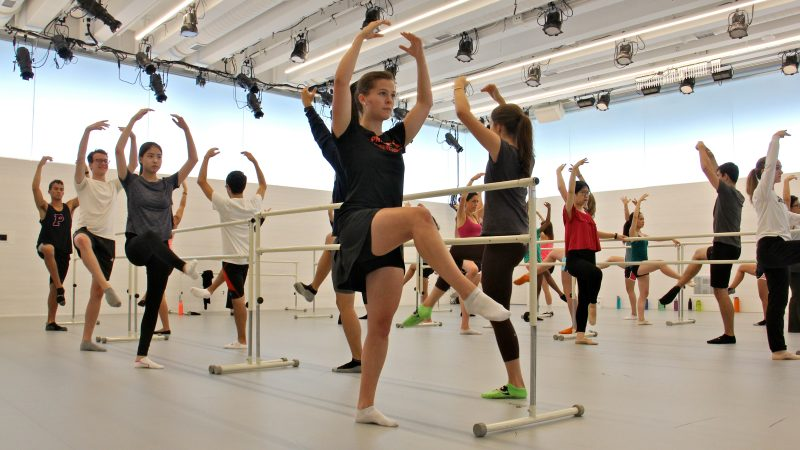Students use an instruction room in the Wallace Dance Building. (Emma Lee/WHYY)