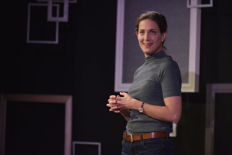 Leah Walton in Theatre Horizon's production of ''2.5 Minute Ride.'' (Photo courtesy of Matthew J Photography)