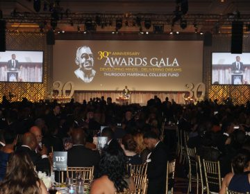 Delaware State University President Harry Williams announced his plans to join the Thurgood Marshall College Fund as he received the group's Educational Leadership Award at the TMCF 30th Anniversary Awards Gala. in Washington, D.C. (Nichelle Polston/WHYY)