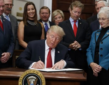 President Donald Trump signs an executive order on health care in the Roosevelt Room of the White House, Thursday, Oct. 12, 2017, in Washington. (AP Photo/Evan Vucci)