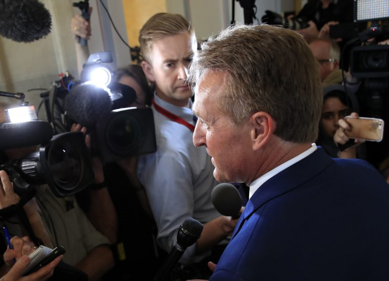 Sen. Jeff Flake, R-Ariz., speaks to reporters on Capitol Hill in Washington, Tuesday, Oct. 24, 2017.