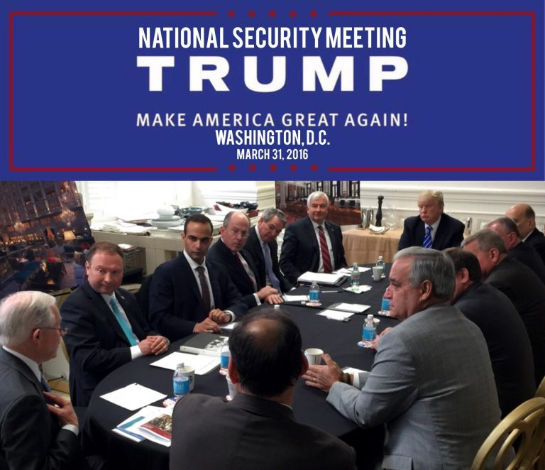 In this photo from President Donald Trump's Twitter account, George Papadopoulos, third from left, sits at a table with then-candidate Trump and others at what is labeled at a national security meeting in Washington that was posted on March 31, 2016. Papadopoulos, a former Trump campaign aide belittled by the White House as a low-level volunteer was thrust on Oct. 30, 2017, to the center of special counsel Robert Mueller's investigation, providing evidence in the first criminal case that connects Trump's team and intermediaries for Russia seeking to interfere in the campaign.