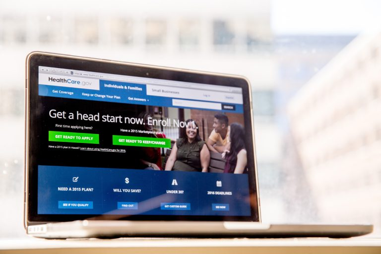 In this Oct. 6, 2015, file photo, the HealthCare.gov website, where people can buy health insurance, is displayed on a laptop screen in Washington. (Andrew Harnik/AP Photo, File)