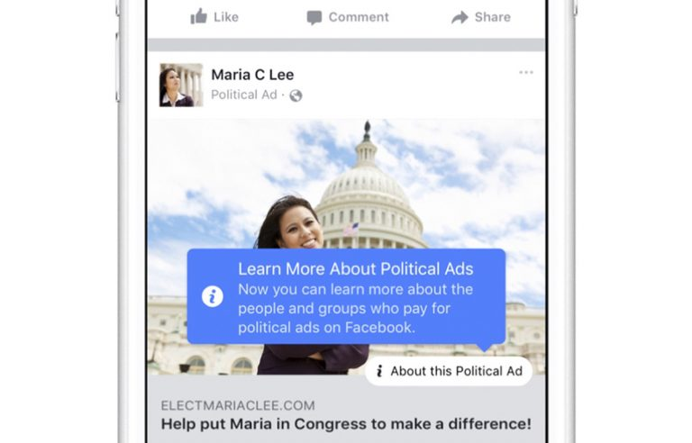 This image provided by Facebook, shows how ads on Facebook will be more transparent. Days ahead of testimony at three congressional hearings, the company is taking new steps to verify advertisers and make all ads on the site more transparent. Executives for the social media company said on Oct. 27,  they will verify political ad buyers, requiring them to reveal correct names and locations, and create new graphics on the site where users can click on the ads and find out more about the organizations or people behind them. (Facebook via AP)