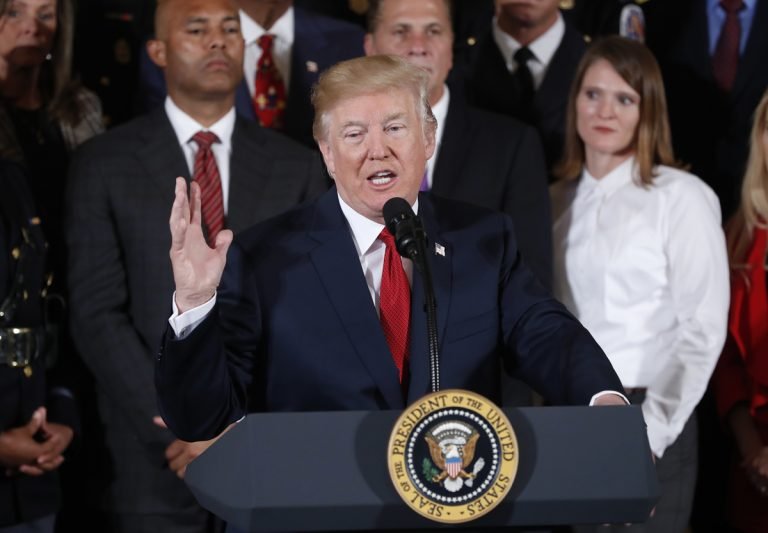 President Donald Trump at the podium