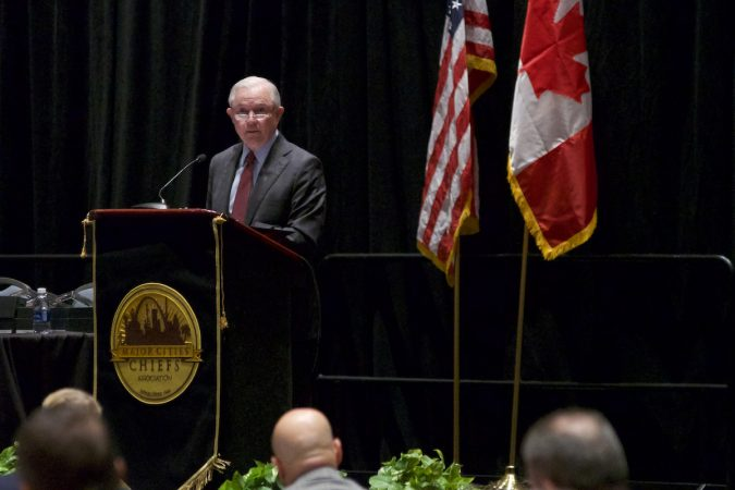 US Attorney General Jeff Sessions delivers his remarks on the Project Safe Neighborhoods during the Major Cities Chiefs Association Fall Meeting, at the Pennsylvania Convention Center in Center City Philadelphia, on Saturday October 21, 2017. (Bastiaan Slabbers for WHYY)