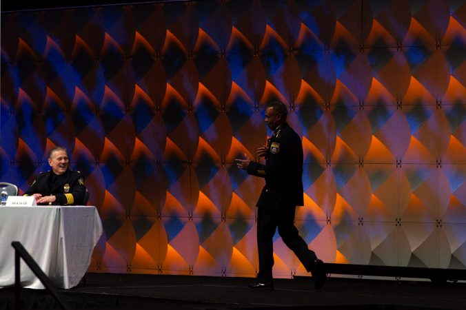Philadelphia Police Commissioner Richard Ross is welcomed on stage ahead of the General Assembly of the International Association of Chiefs of Police conference in Philadelphia. (Bastiaan Slabbers for WHYY)