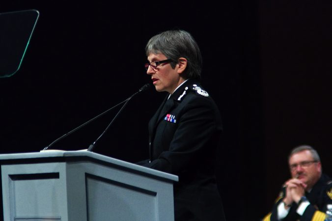 Commissioner of the Metropolitan Police in London Cressida Dick speaks during the General Assembly of the International Association of Chiefs of Police convention in Philadelphia