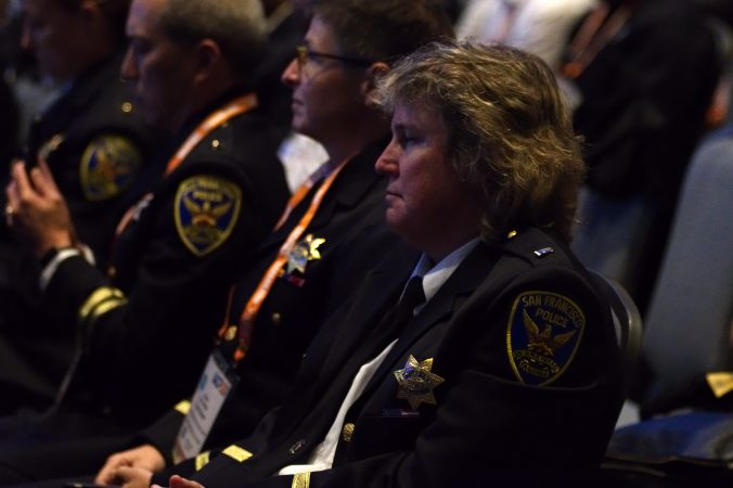 Police from across the country listen as U.S. Attorney General Jeff Sessions delivers the keynote address during the General Assembly of the International Association of Chiefs of Police conference in Philadelphia on Oct. 23, 2017. (Bastiaan Slabbers for WHYY)