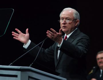 U.S. Attorney General Jeff Sessions delivers the keynote address during the General Assembly of the International Association of Chiefs of Police conference in Philadelphia. (Bastiaan Slabbers for WHYY)