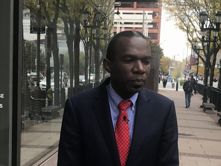 Philadelphia City Solicitor Sozi Tulante leaves the  the federal courthouse in Center City following a hearing on the city's lawsuit against the U.S. Department of Justice over withholding grant funding from
