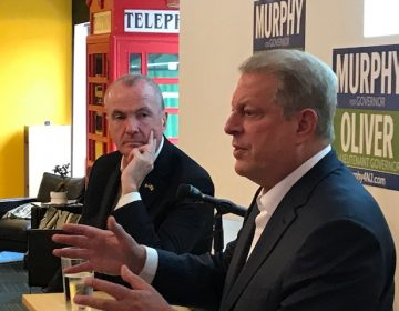 Former Vice President Al Gore, right, stumps for New Jersey's Democratic candidate for governor, Phil Murphy. (Shai Ben-Yaacov/WHYY)