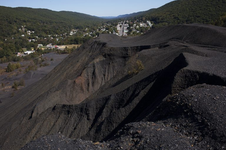 Coal Hill, a pile of coal on the outskirts of Trevorton, in Central Pennsylvania, is a testament to the old industry here and a reminder that companies didn't clean up when they finished mining. (Irina Zhorov/WHYY)