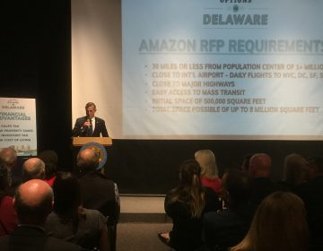 Gov. John Carney presented the state's pitch to Amazon to build their new headquarters at one of three northern Delaware sites. (Zoë Read/WHYY)