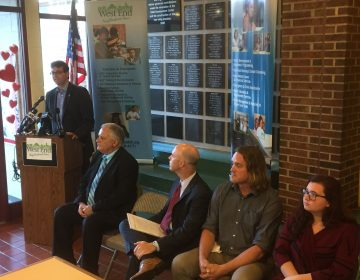 NCCo Exec. Matt Meyer announces $250,000 in funding to help young people get into their first jobs at West End Neighborhood House. (Zoë Read/WHYY)