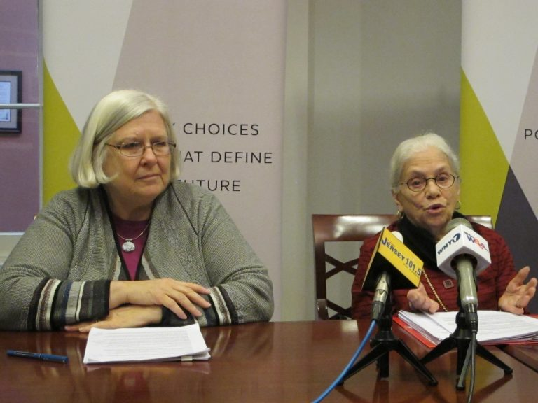 Cecilia Zalkind (left) and former New Jersey Chief Justice Deborah Poritz call for changes in the state's educational funding practice. (Phil Gregory/WHYY)