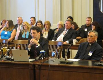 People sit at a table and in the audience during a hearing at the New Jersey Legislature