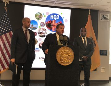 U.S. Sen.  Cory Booker (from left), New Jersey Gov. Chris Christie, and Newark Mayor Ras Baraka say the city would be an ideal location for Amazon's second headquarters.  (Phil Gregory/WHYY)