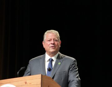 Al Gore, grey suit, at a podium, black background