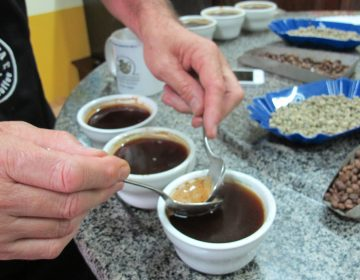 A trio of small coffee cups, similar to espresso, a barrista works two spoons and froth
