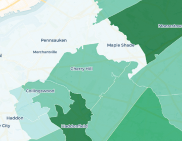 Areas in darker green rely more heavily on the state and local tax deductions. (Image from NJ Spotlight)