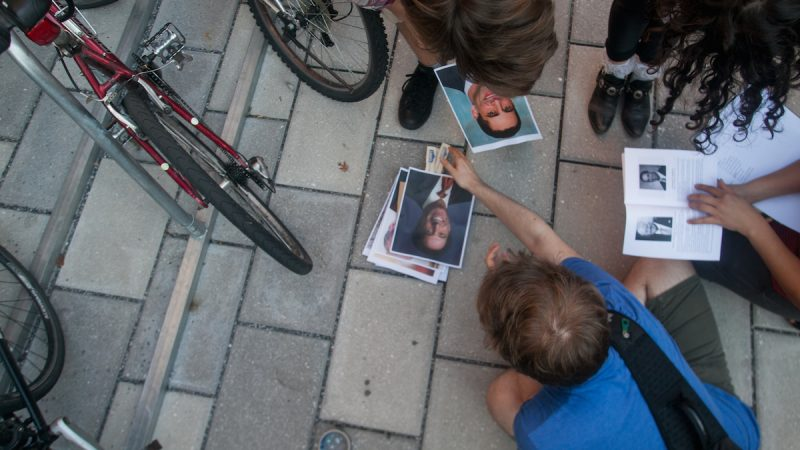 Pictures of the trustees laid out on the ground