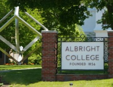 A sign on Albright College's campus