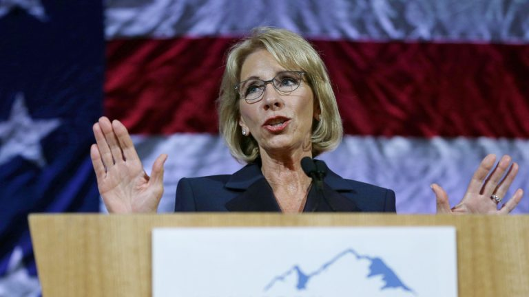 U.S. Education Secretary Betsy DeVos speaks during a dinner hosted by the Washington Policy Center, Friday, Oct. 13, 2017, in Bellevue, Wash.