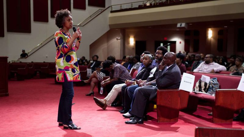 Hilary Beard, member of the sub panel, speaks during Courageous Conversations: Reimagining Race and Education forum at Enon n Tabernacle Church, on Thursday. (Bastiaan Slabbers for WHYY)