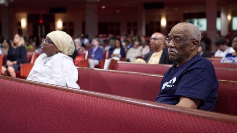 A view of the audience during Courageous Conversations: Reimagining Race and Education forum at Enon Tabernacle Church, on Thursday. (Bastiaan Slabbers for WHYY)