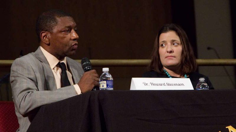 Moderator Dr. Howard Stevenson and Sara Goldrick-Rab Professor of Higher Education Policy & Sociology at Temple University during Courageous Conversations: Reimagining Race and Education forum at Enon Tabernacle Church, on Thursday night. (Bastiaan Slabbers for WHYY)