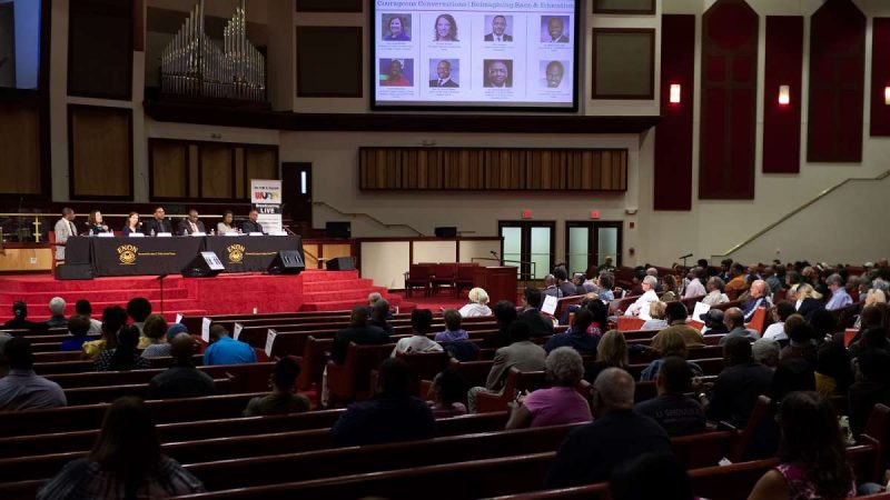 Courageous Conversations: Reimagining Race and Education forum at Enon Tabernacle Church, on Thursday night. (Bastiaan Slabbers for WHYY)
