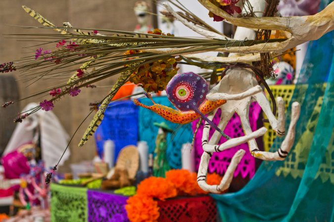 The central figure of the altar was created by artist Cesar Viveros. (Kimberly Paynter/WHYY)