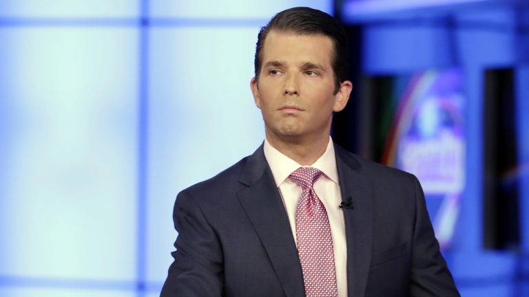 Donald Trump Jr. is shown in an appearance on Sean Hannity's Fox News Channel television program in July.