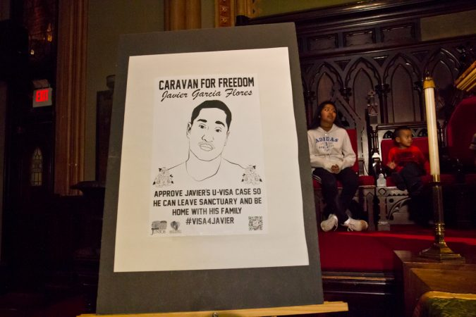 Javier Garcia Flores lived in the First United Methodist Church on Arch Street in Philadelphia, since November of 2016. After obtaining a visa, he can leave the church and live with his family. (Kimberly Paynter/WHYY)