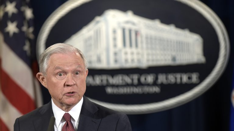 Attorney General Jeff Sessions makes a statement at the Justice Department in Washington, Tuesday, Sept. 5, 2017, on President Barack Obama's Deferred Action for Childhood Arrivals, or DACA program.