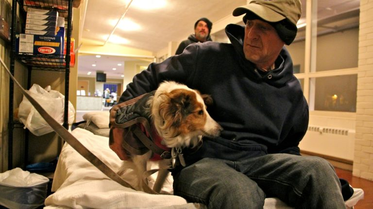 A man sits on a cot, his dog at his side