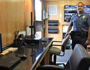 Bridgeton Police Sgt. Jason Hovermann mans a mobile police substation the town will use to target troubled areas and improve community policing (Emma Lee/WHYY)