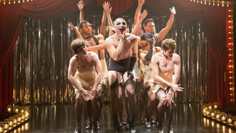 The Kit Kat Club players in Arden Theatre Company's production of 'Cabaret.' John Jarbow, the emcee, is in the middle. (Photo courtesy of Mark Garvin)