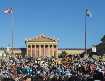 Roughly 6,000 people gathered in front of the Philadelphia Museum of Art