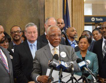 Politician standing inside Philadelphia's train station