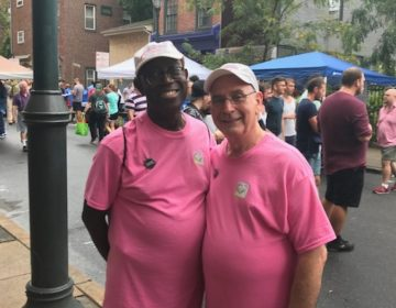 Stevie and Arthur, in matching pink tshirts