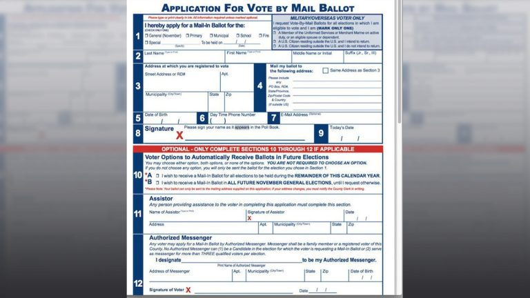Sample application for a vote by mail ballot
