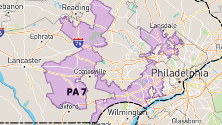 Pennsylvania's oddly-shaped 7th Congressional district is often cited as an extreme example of gerrymandering.(via govtrack.us)