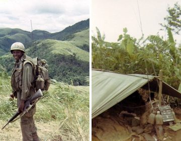 Reginald Waller, is shown as a soldier in the Vietnam War. Right: Waller's equipment is shown set up in a battlefield shelter.