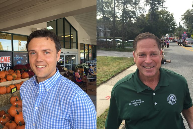 Delaware County council candidate Kevin Madden (left) was one of two Democrats to win seats on the five-member board, while the bid of Republican candidate Dave White (right) fell short.  (Dave Davies/WHYY)
