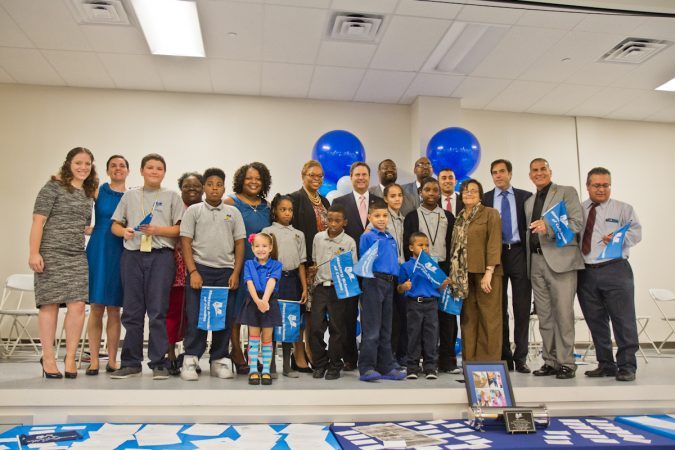 Officials and students at Mastery Cramer Hill Elementary school helped dedicate the new building in Camden Tuesday morning. (Kimberly Paynter/WHYY)