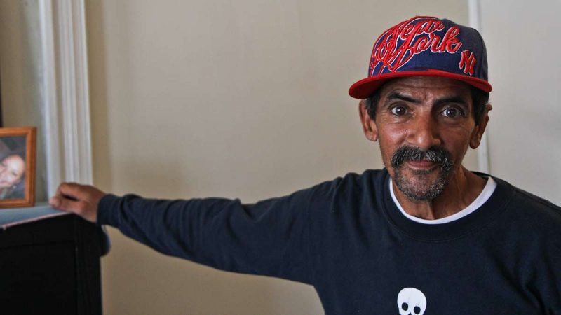 Israel Reyes, 61, recently lived on the Conrail Train tracks in Philadelphia's Kensington neighborhood. He recieved assistance to move into a studio apartment since the clean-up began. (Kimberly Paynter/WHYY)