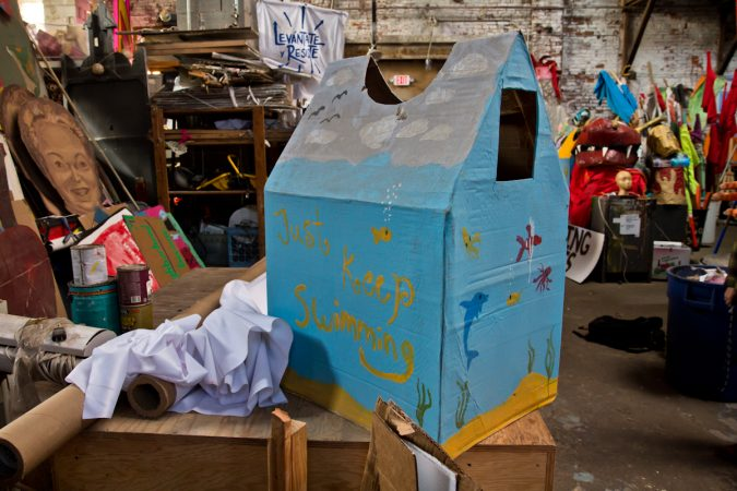 A wearable house to be worn at the 18th Peoplehood Parade Saturday. (Kimberly Paynter/WHYY)
